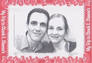 A photo taken in a similar Chuck E Cheese's photo sketch booth.