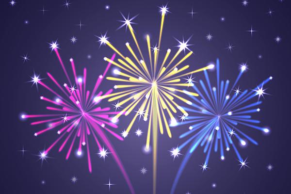Colorful Illuminated Fireworks. Vector Illustration.