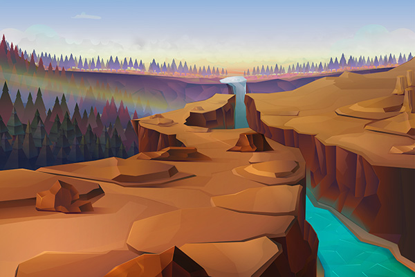 Canyon, nature vector background